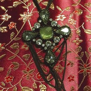 GUESS Necklace Black Victorian Inspired Cross